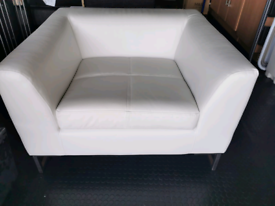 Dwell White Leather Armchair