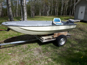 12' Fiberglass Boat with 9.5 HP Evinrude and Trailer
