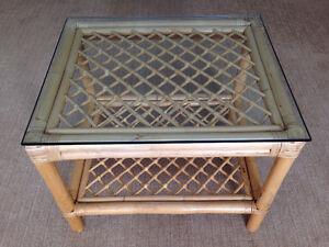 Three Matching  Cane Tables w/ Glass Tops