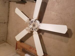 "White ceiling fan - 53"", 5 blade, 3 lights.  $25.00"