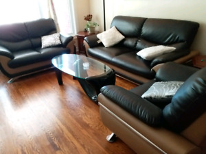 Faux leather black sofa, couch, loveseat 3 piece set