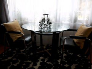 McM Wooden/Glass table with 2 arm chairs