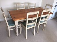6 seater solid pine dining table + chairs