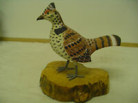 Carved Wooden Grouse Bird Decoy
