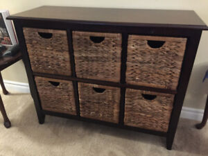 Wooden Storage Unit with 6 Baskets