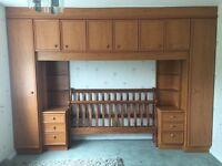 Teak/Oak effect fitted bedroom unit