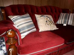 Queen size frame cherry wood love seat