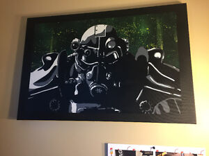 Spray painted fallout canvas