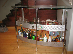 Modern Glass and Metal Bar