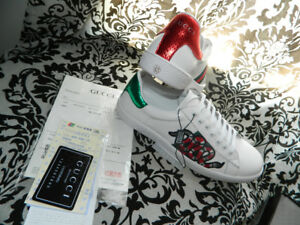 Gucci Leather Ace Embroidered Sneakers