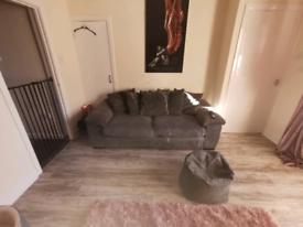 3 seater sofa and beanbag. Charcoal grey
