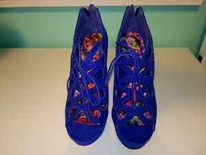Brand New Blue Suede High Heel Shoes