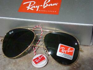 Green Lens Gold Frame Ray-Ban Aviator RB3025 RayBan Sunglasses Regina Regina Area image 2