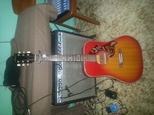 Guitare acoustique style Gibson Songbird Rouge