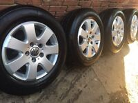 "As New 16"" Genuine VW Transporter T5.1 T5 alloy wheels + 215/65/16 tyres T30 T32 Caravelle CAN POST"