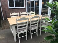 Large 6ft rustic Pitch Pine dining table 6/8 seater and 6 x chairs, Farrow & Ball cream
