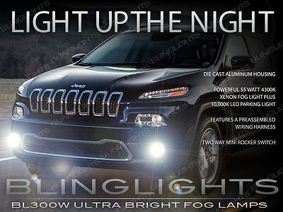 2014 2015 Jeep Cherokee Xenon Halogen Fog Lamps Driving Lights Kit Set + Harness