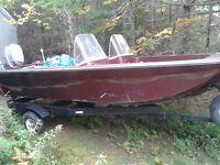 For Sale 14' fiberglass boat and trailer