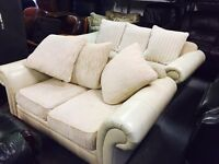 Cream leather and fabric 3 and 2 sofas