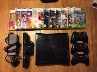 XBOX 360 250gb, 3 controllers, Kinect and games