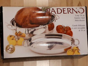 PADERNO Stainless Steel Multi-Roaster with Removable Rack, 38cm