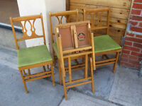 Vintage HOURD Wooden Folding Chairs Set of 4 Canada Glen Gould