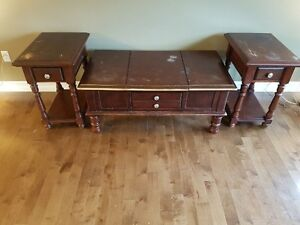 Solid wood Coffee and 2 End Tables