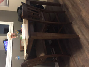 Solid oak bar stool dining room table with 6 chairs