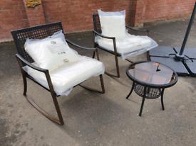 Garden patio set rocking rattan chair table