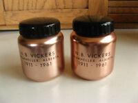 N.B. VICKERS ADVERTISING SALT AND PEPPER 1911-1961