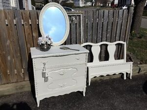 Chalk Painted Dresser, Mirror and Single Head and Foot Board