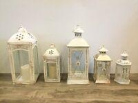 Metal and Wood Lanterns, Wedding Decor. Fresh and Silk Flowers