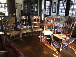 Thomasville Oak And Rattan Dining Chairs