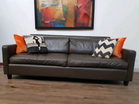 Habitat Chester 3 seater sofa in brown leather RRP £2000