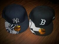 LOT 2 MLB NEW ERA  7 3/8   BOSTON RED SOX + NEW YORK YANKEES