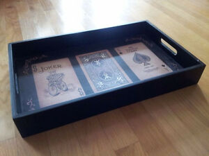 Solid wooden playing cards print black serving tray decorative London Ontario image 2
