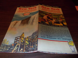 1960 Esso New York Vintage Road Map / Niagara Falls on Cover