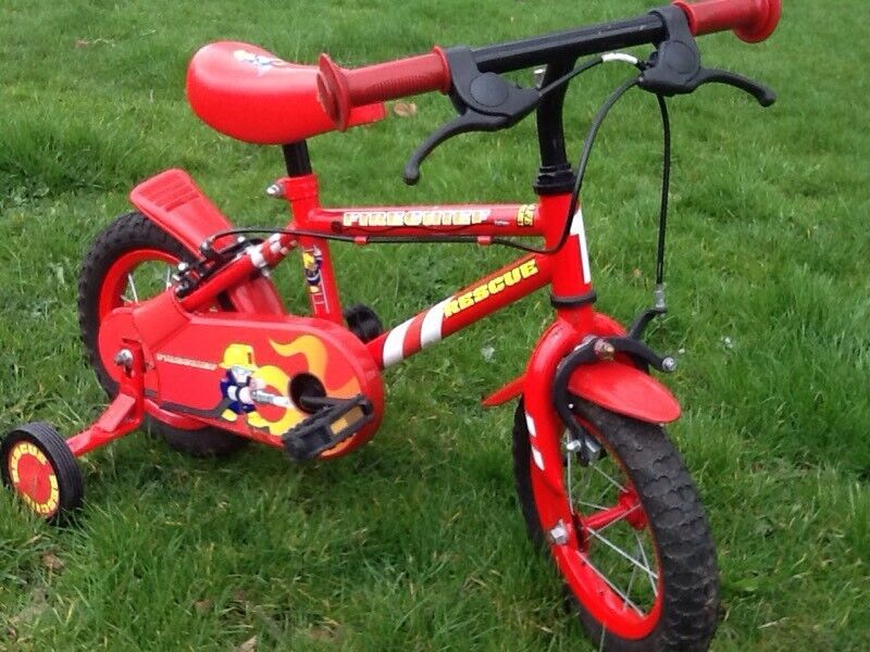 Kids Bike - Apollo Firechef Rescue Boys Bike with Stabilizers 12