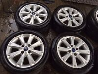 "15"" GENUINE FORD FIESTA TITANIUM X ZETEC ALLOY WHEELS SET OF 4 WITH MATCHING TYRES"