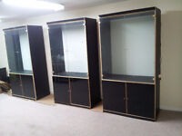 3 matching display cabinets.