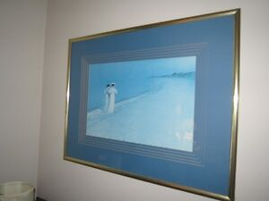 Framed Beach Painting w/Two Women Walking