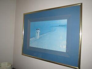 Framed Beach Painting w/Two Women Walking