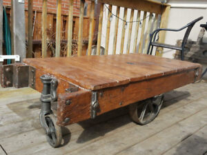 Antique factory cart, coffee table