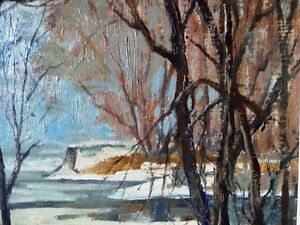"""Original Oil Painting, H. Oswald Stacey  OCA """"January Thaw"""" 1945 Stratford Kitchener Area image 8"""