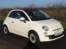 2009 59 FIAT 500C 1.2 LOUNGE CONVERTIBLE WHITE