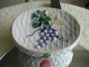 OLD VINTAGE DECORATIVE CHINA SOAP DISH with GRAPE DESIGN