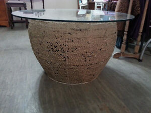 """Unique handmade beehive table with 1/4"""" thick tempered glass."""