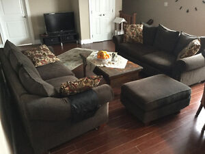 2 Sets of Leon's Fabric + 4 Cushions + Ottoman, Moving Sales