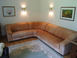 """Leather """"L"""" shape sectional couch"""