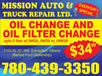 Oil Change for $34.99 at Mission Auto